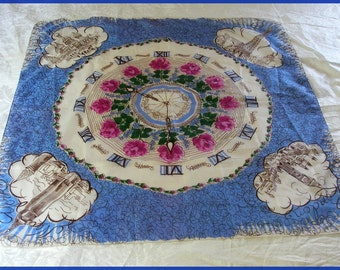 Vintage Time Zone Clock Scarf Paris London Moscow New York
