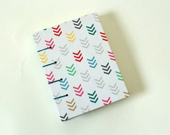 Multi-colored Chevron Pocket Size Notebook Coptic Lay Flat Journal