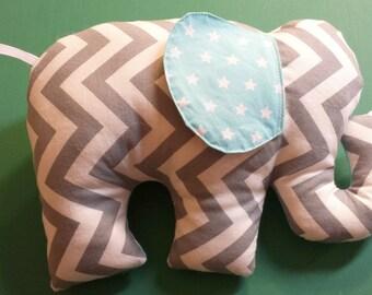 Elephant Softie Stuffed Stuffie Gray Aqua Blue Zig Zag