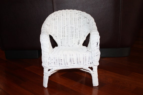Vintage White Wicker Doll Chair White Teddy Bear Chair White