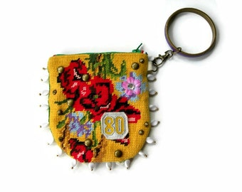 Handmade Embroidered Purse. Mixed Media Wristlet. Needlepoint Floral Pouch.Metallic Gold.