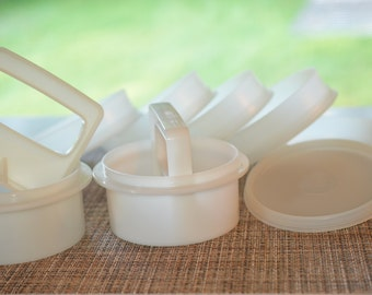 Vintage 1970 Tupperware Hamburger Presses and Rings/Five (5) Easy-to-Freeze Storage Containers for Individual Servings/Quarter Pound Burgers
