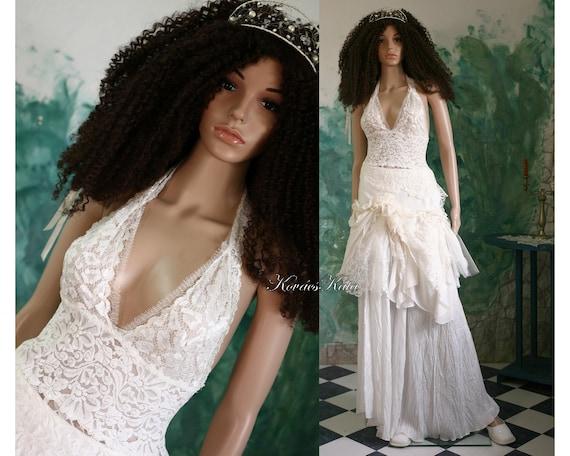 Bohemian Sexy Backless Short Lace Wedding Dress OOAK - Melissa