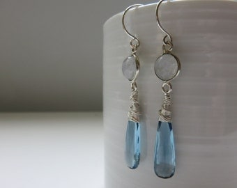 Blue Quartz and Moonstone Sterling Silver Elongated Dangle Earrings