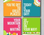 You're off to Great Places 2 | Wall Art Collection | Canvas Art Decor | Typography Quote Print | Girly Decor | Playroom Prints