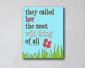 They Called HER the Most Wild Thing of All | Wall Art | Canvas Art Decor | Typography Quote | Girls Room Decor | Story Book Quote Print