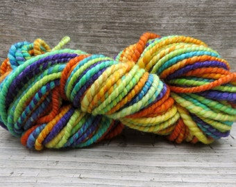 Handspun Yarn, Art Yarn, 2 Ply, Bulky, Wool, Knit, Doll Hair, Fruit Pops