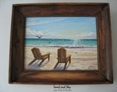 Original 8x10 Beach Chair Seascape Painting by J. Mandrick - FRAMED