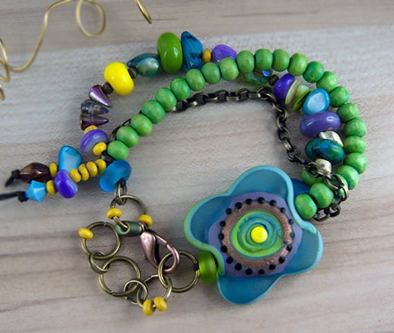 Items Similar To Lagoona Art Glass Bracelet Made By