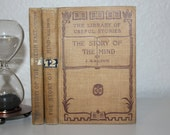 Library of Useful Stores, The Story of the Mind, The Story of the British Race, Antique Books, Vintage Books, Set of Books, Brown Books