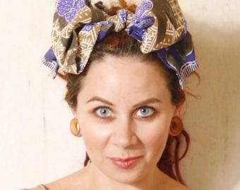 Blue headband Blue turban Big hairwrap Retro headband Large bow headband Blue turban Blue hair wrap African headband Oversized hair bow