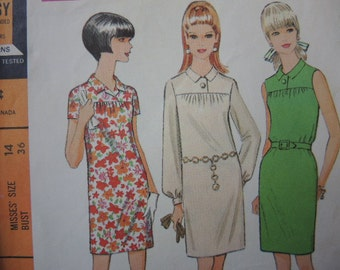 vintage 1960s McCalls sewing pattern 9123 misses dress in three versions size 14