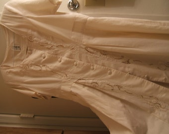 Vintage cutwork dress, worn once, cream color cotton size 12 - 14