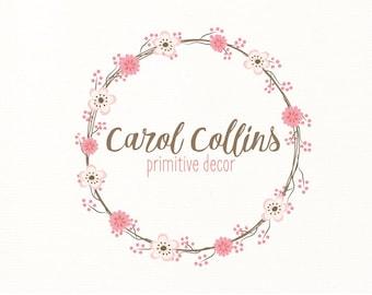 floral logo flowers wreath premade logo - Logo Design #115