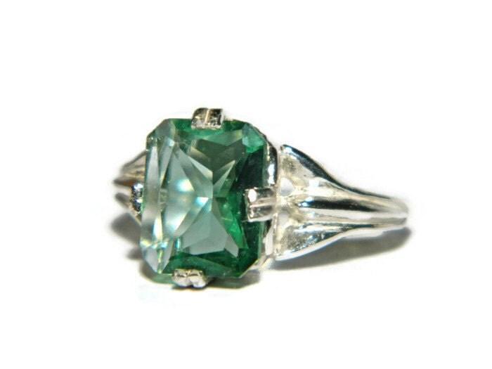 green amethyst ring emerald cut sterling silver