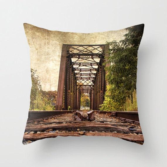 Railroad Trestle Bridge Photo Throw Pillow, Throw Pillow, Photo Pillow, Photography, Pillow Covers, Art Throw Pillows