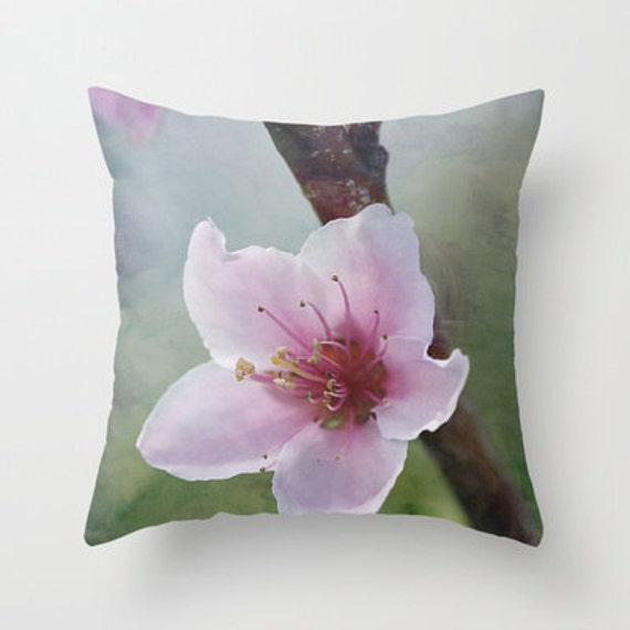 Peach Decorative Throw Pillows : Peach Blossom 2 Decorative Throw Pillow Art Throw Pillow