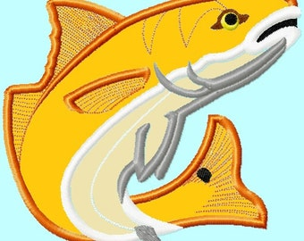 Red Fish or Trout APPLIQUE Embroidery Designs 4 sizes included INSTANT DOWNLOAD