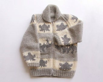 Vintage Hand Knit Cowichan Zipper Sweater