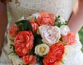 Silk bridal bouquet coral, peach, blush, cream, cabbage roses, greens