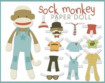 Sock Monkey Paper Doll PDF -  printable paper dolls - Fun Sock Monkey Paper Dolls DIY