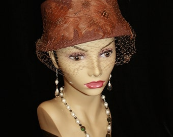 Vintage Felted Wool Hat Feathers Netting Any Occasion Church Hat