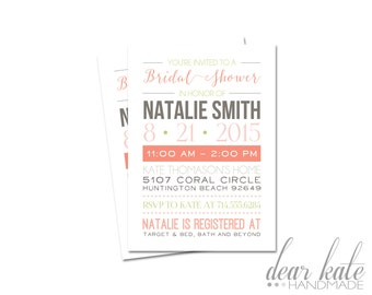 CUSTOM Bridal Shower Invitation- Simple Modern Typography