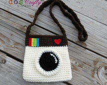Instagram Camera Photography  inspired Crochet Bag Purse with straps