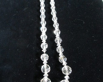 Faceted Crystal Beaded Necklace, Clear Beads, With Crystal Spacers