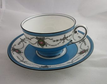 Aynsley Tea Cup and Saucer, Blue and Black Borders with Black Swags  and Flowers