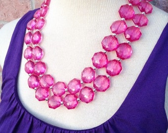 Magenta pink Double Strand statement necklace - Hot Pink big beaded chunky jewelry