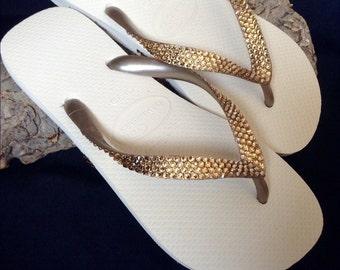Custom Havaianas Flip Flops Metallic Gold Beige Ivory Cream Golden Tan w/ Swarovski Crystal Bling Rhinestone Wedding Grad Prom Sandals Shoes