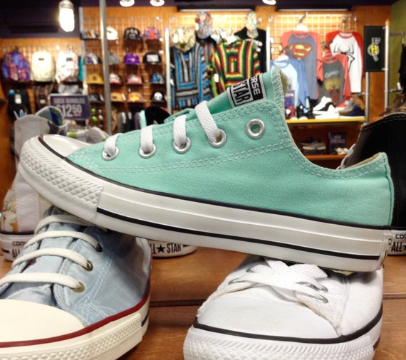 Converse Low Top Sea Foam Mint Green Pistachio Bride Wedding Bling Glass Slipper w/ Swarovski Crystal Rhinestones Chuck Taylor All Star Shoe