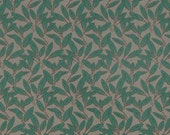 Emerald Green Upholstery Fabric with Leaves - Grey Green Heavy Duty Fabric for Furniture Upholstery - Modern Green Leaf Headboard Material