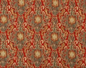 Red Gray Ikat Upholstery Fabric - Woven Upholstery Fabric for Furniture - Red Ikat Pillow Material - Chenille Upholstery Fabric