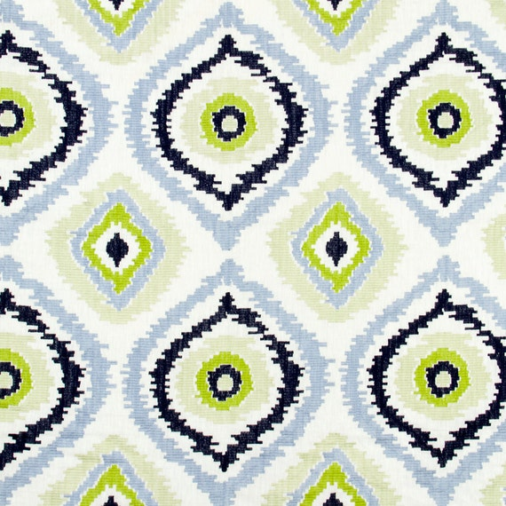 Light Blue Embroidered Ikat Upholstery Fabric Blue Ikat