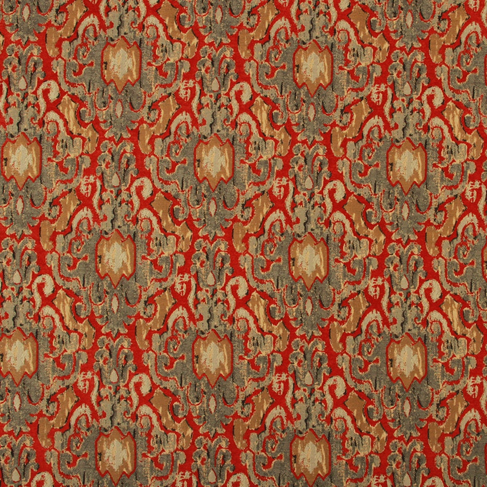 Red Gray Ikat Upholstery Fabric