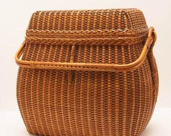 Antique Asian Sewing Wedding Food Basket