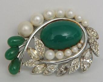 Vintage Rhinestone Pearl Jade Brooch