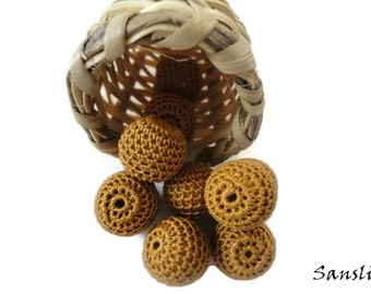12 pcs- 16 mm beads-crocheted bead-mustard beads-round beads-crochet ball beads-beads crochet-embellishment-wooden crochet cotton yarn beads