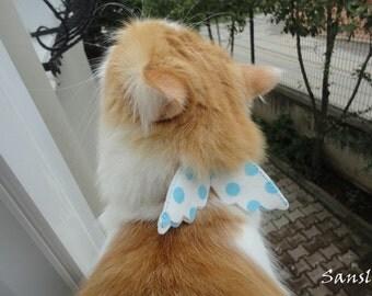 Cat collar-adjustable collar-custom collar-crochet cat collar-cat accessories-angel.Adjustable cat collar polkadot with Bell