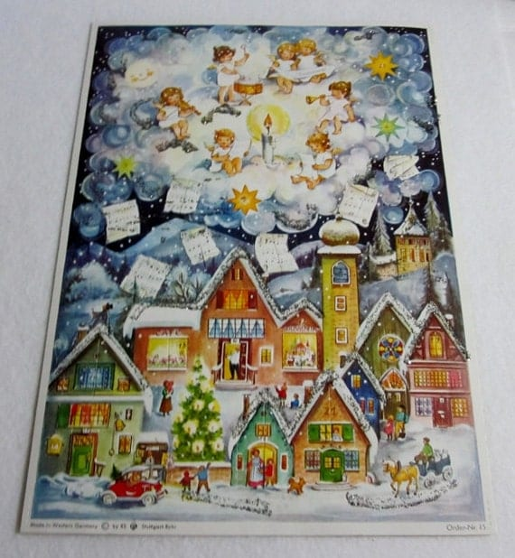 Vintage West German Advent Calendar, Stuttgart-Rohr Advent Calendar ...