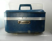 Vintage Blue Train Case 1960's Train Case with Key,Travel Case, Makeup Case, Small Suitcase, Vintage luggage