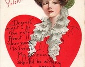 ON SALE Antique Embossed To my Valentine Greetings Postcard American Beauty in a Heart 1909