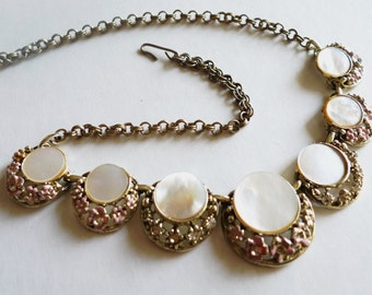 Gold and Mother of Pearl Shell with Pink Flowers and Rhinestones Adjustable Vintage Necklace