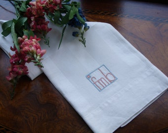 Linen Damask Guest Towel with monogram FMB, Damask detailing, 30x18 inches, Extra long guest towel, Vintage, 1950s home decor,