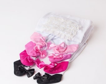 Ruffle Baby tights with Mary Jane Bow Shoes leggings - set of 4 ombre pinks and black