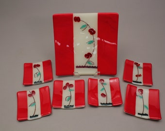 Cherry Fused Glass Sushi Set -- 7 Piece Set