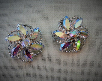 WEISS RHINESTONE EARRINGS Clip-on Aurora Borealis w Clear Swarovski Crystals Silver Tone Vintage Designer Costume Jewelry Gift Wedding