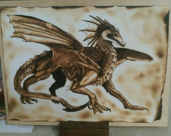 Woodburn art Dragon, Percival the Fierce. Burning on paper, wood burned, art, pyrography, fantasy